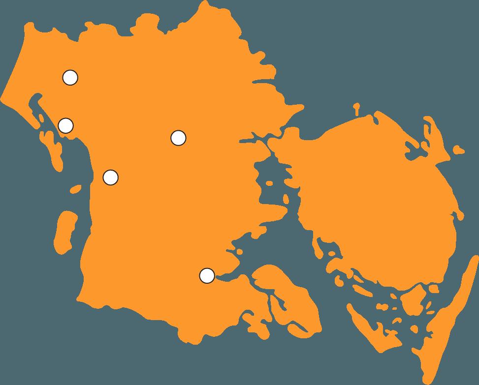 Kort Region Syddanmark Sprogcentre